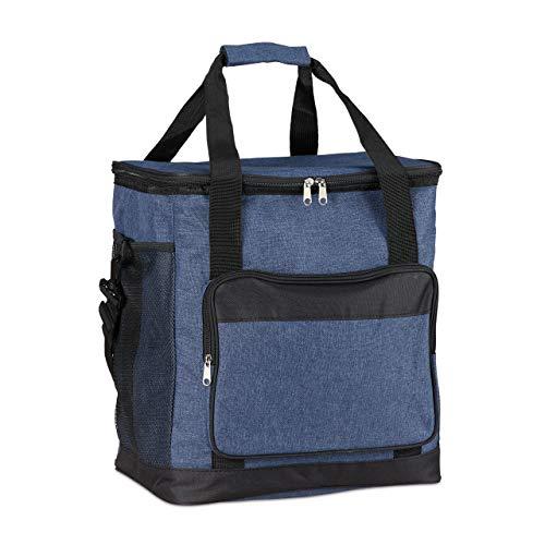 Relaxdays Unisex– Erwachsene Kühltasche faltbar, Picknicktasche mit Isolierung, 30 L, mit Tragegurt & Griff, große Isoliertasche, blau, 1 Stück