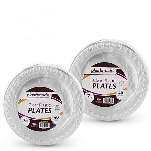 [80 Count] Plastimade 7 Inch Appetizer Plates Clear Disposable Heavy Duty Plastic, Ideal For Wedding, Catering, Parties, Buffets, Events, Or Everyday Use, 2 Packs