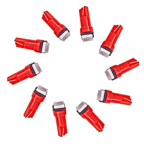 Lot de 10 Diodes d'Instrument pour Tableau de Bord de Voiture T5 5050 1 SMD, LED Rouge