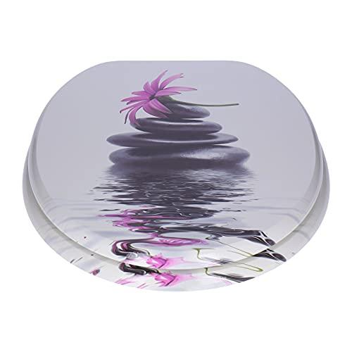 WC-Sitz mit Absenkautomatik (Soft- close) aus stabilem MDF | Ovale Form | EU-Größe | bis 150 Kg | versch. Motive – Klobrille Toilettendeckel (Stone + Flower)