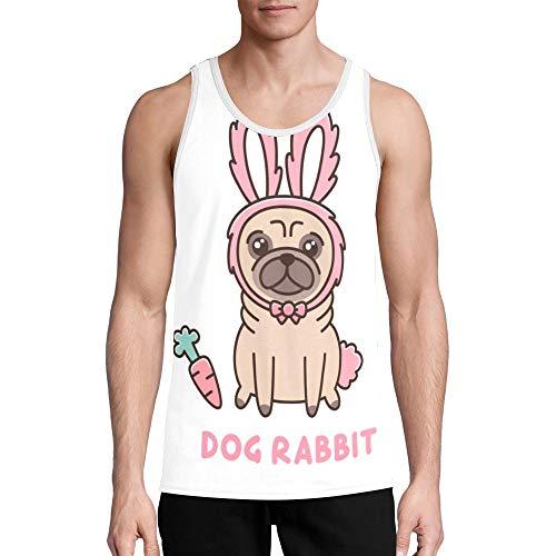 Custom Men's Quick Dry Sport Tank Top for Summer Bodybuilding Gym Running Workout Dog Rabbit Costume Shirt 2XL