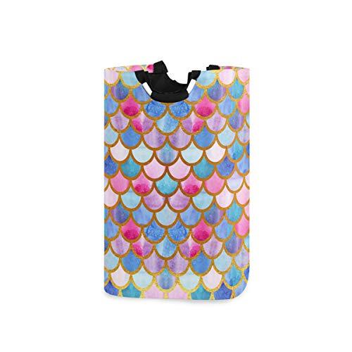 vvfelixl Mermaid Watercolor Fish Scales Laundry Basket|Laundry Hamper W/Handles|Drawstring Waterproof Oxford Cloth Storage Basket for Dorm Room, Shower Room, Bathroom, Bedroom, Nursery Or Rv
