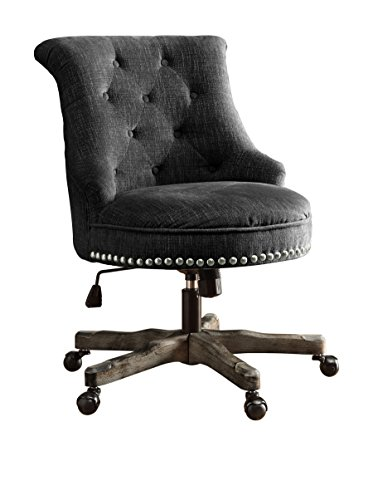 Linon Sinclair Armless Upholstered Office Chair in Charcoal Gray