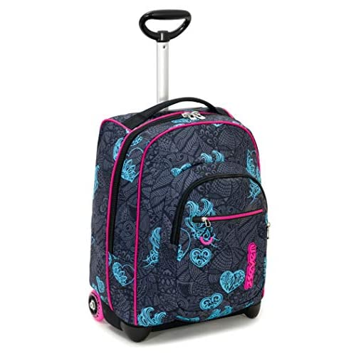 Trolley Fit Seven Colorflower, Nero, 35 Lt, 2in1 Zaino con Sollevamento Spallacci per uso Trolley, Scuola & Viaggio