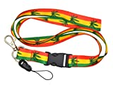 Fashion'Red/Yellow/Green Marijuana' I.d Holder & Cellphone Keyholder Lanyard