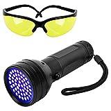 Pawaboo Linterna Ultravioleta 51 LED UV, Luz Negra 395nm, Detectar Manchas de orina de Mascotas, Gafas de protección UV Incluidas [Clase de eficiencia energética A+], Negro