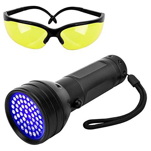 Pawaboo Lampe Torche UV Lumière Noire, 51 LED Ultraviolet 395nm Lampe de Poche Portative UV pour l'Urine d'Animal de Compagnie, Punaises de Lit, Taches, Documents de Vérification d'Argent - Noir