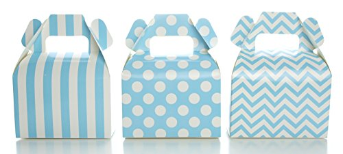 Light Blue Candy Box Set, Baby Shower Favor Boxes (36 Pack) - Winter Frozen Birthday Party Supplies, Striped, Chevron & Polka Dot Small Square Gable Wedding Gift Box