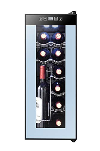 Powell 12 Bottle Single Zone Freestanding Wine Cooler with Adjustable Storage Options and LED Display