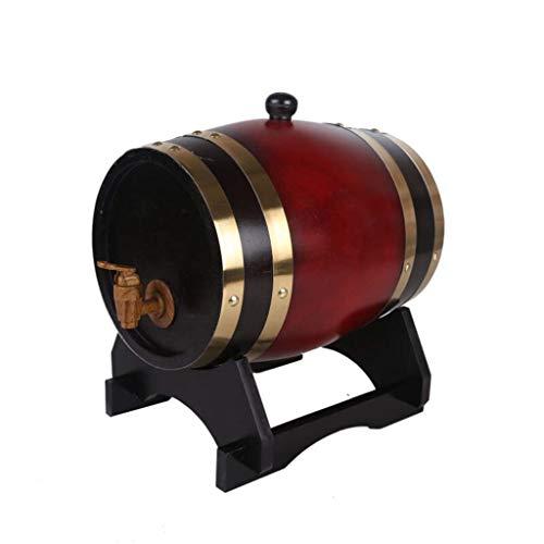 Barriles de Vino de Roble Barril De Vino De Roble, Barril De Madera Brandy Barril Whisky Barril Decoración del Hogar Barril De Decoración De 5 litros (Color : Red)