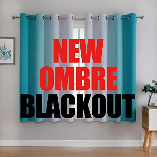 G2000 Blackout Curtains & Drapes for Bedroom Living Room 63 Inch Length Turquoise and Greyish White Room Darkening Window Treatments Ombre Thermal Insulated Light Blocking Grommet Backdrop 2 Panels
