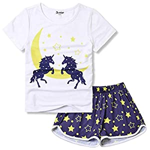 Pajamas for Girls Unicorn Face Pjs Sets Short Sleeve Sleep Night Shirts Clothes