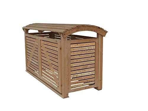 Massive Mülltonnenbox Holz, Modell Mailo H, für drei 240 Liter Mülltonnen - 2