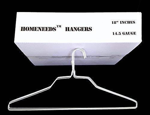 "Homeland Goods Wire Hangers 18"" Standard White Clothes Hangers (100) (Standard Version)"