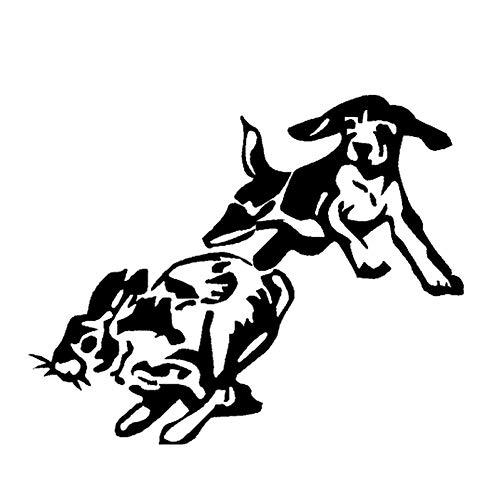 CTMNB Auto-etiket, 17 x 13,7 cm, vinylsticker, Rabbit Dog Puppy, honing, hond, dierenauto styling, sticker, zwart/zilver