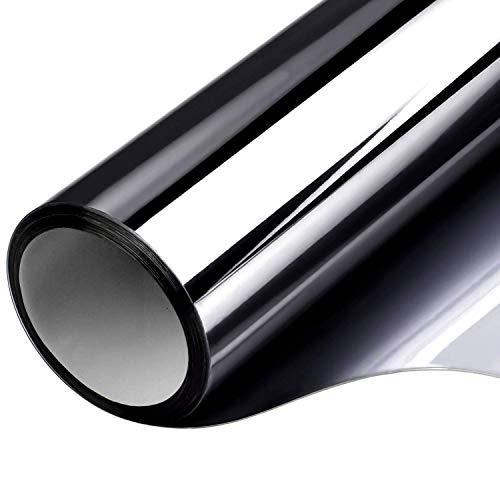 CHIN FAI Einwegfensterfolie Anti-UV-Wärmesteuerung Reflektierende Glastönung Privatsphäre bei Tag Statisch haftende, Nicht klebende Spiegelfolie Abnehmbar für Heim und Büro (Schwarz- Silber)