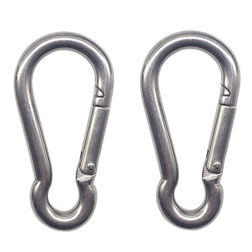 3.15 Inches Heavy Duty Stainless Steel Carabiner for Gym Equipment, EFFIET 2 Packs Spring Snap Hook Clips Spring Link Buckle for Gym Exercise, Punching Bags, Fishing, Hiking, Camping