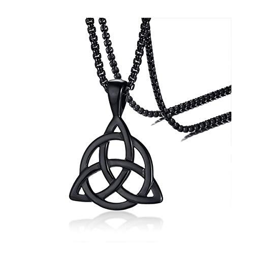 Steampunk - Celtic - Trinity Knot Pendant Necklace - pentagram Pentacle Castiel Triquetra gothic - GlazedBlackCherry