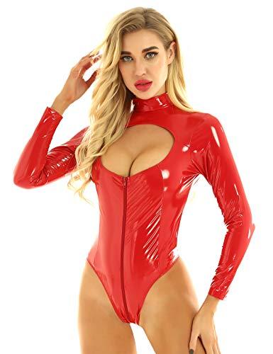 Agoky Damen Jumpsuit Langarm Body Stehkragen Ouvert Catsuit Schritt mit Reisverschluss Lack Leder Nachtwäsche Gogo Tanz Clubwear Rot 3XL