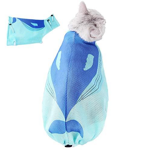 zhppac Katzentransporttasche Katzensack Haustier Badetasche Haustierwaschbeutel Nagelschneiden für Katzen Katzenreinigungstasche Tierpflegetasche