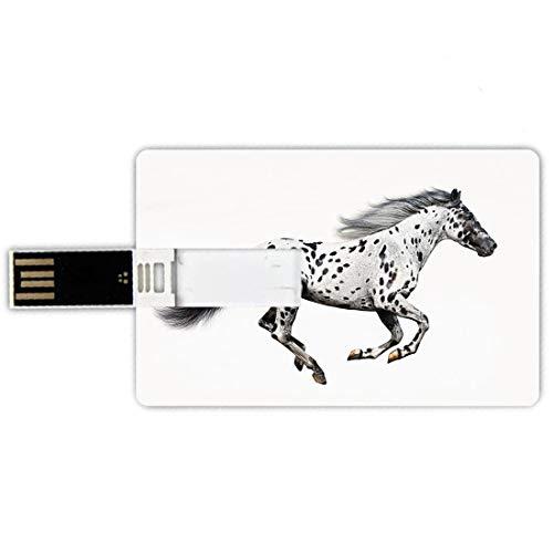 USB-Sticks 8GB Kreditkartenform Pferdedekor Memory Stick-Bankkartenstil Leistungsstarker Appaloosa Hengst Graceful Royal Pure Blood Champion Pferdedruck Dekorativ,Schwarz Weiß Wasserdichte stift daume