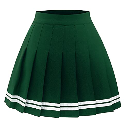 Timormode Women's Pleated Skirt Mini Skater Basic Skirt School Cheerleader 10 Green White Strip M