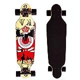 PowerRider Skateboard Longboard Cruiser Adults Complete Drop Through Deck 32 inch Maple with Flashing Wheels for Boys Girls Kids Children Beginners Gift (Cattle)