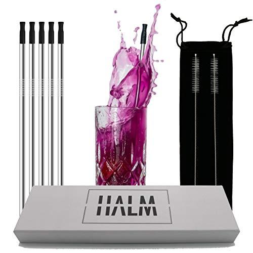 Strohhalm Edelstahl / 5 Strohhalme wiederverwendbar im Set mit Hygieneaufsätzen & Reinigungsbürsten/perfekt als Cocktail Strohhalme geeignet / 100% plastikfrei