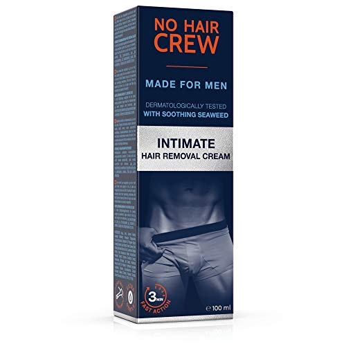 No Hair Crew Intimate/Private At Home Hair Removal Cream for Men - Painless, Flawless, Soothing Depilatory for Unwanted Coarse Male Body Hair, 100ml