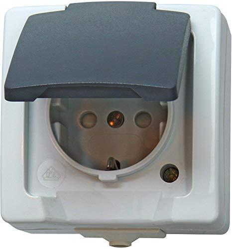 Kopp 107856005 Nautic Steckdose für Feuchtraum, 250 V, grau