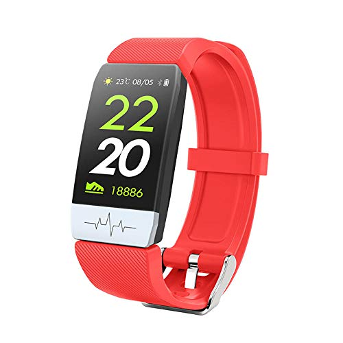 Reloj Inteligente Mujer Hombre,Monitorización de la salud de la frecuencia cardíaca y la presión arterial, pulsera inteligente a prueba de agua-rojo,Pulsera de Actividad Inteligente Reloj Deportivo