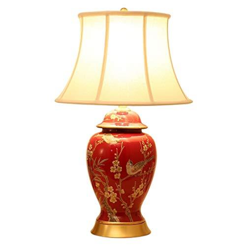 OKMIJN tafellamp, slaapkamer nacht woonkamer, New Chinese American Country, in Europese stijl tuin bruiloft kamer, geschilderde bloemen en vogels, keramiek koperen tafellamp