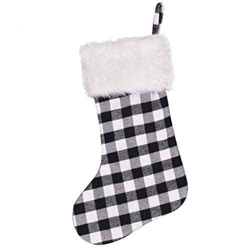 ADKY ADKYWeihnachtsstrumpf Geschenktüte Weihnachtsdekoration Bonbontüte Weiße Wollsocken Schwarze und weiße Socken Geschenk (ein Paar)