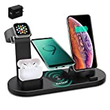 Kertxin Wireless Charger Stand,4 in 1 Wireless Charging Station Dock for Apple Watch iWatch SE/6/5/4/3/2/1, Airpods,iPhone Series 12/12Pro/11/11 Pro Max/X/Xs/XR/8 Plus/8,Samsung Galaxy S10 S9