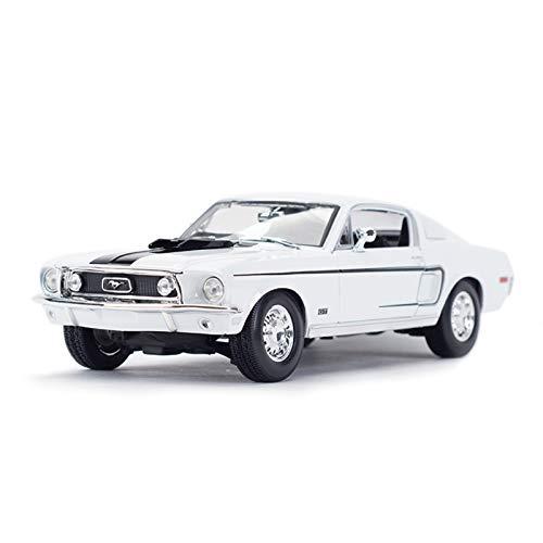 NMBD 1:18 para 1968 Ford Mustang GT Cobra Jet Coche Deportivo Simulación Estática Vehículos De Fundición A Presión Modelo De Coche Juguetes (Color : White, Size : 2)