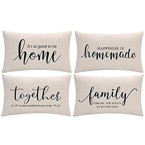 Set of 4 Home Quotes Lumber Decorative Pillowcases Farmhouse Throw Pillow Cover 12 x 20 Inch Rustic Family Words Country Decor for Sofa/Couch/Porch