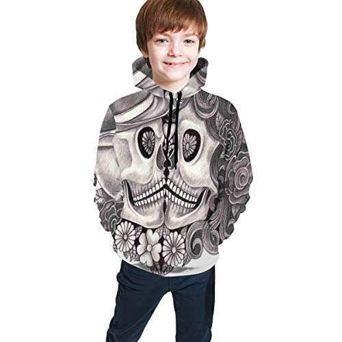 JIMSTRES Teen Hooded Sweatshirts,Art Skull with Hat All Saints Day Mexico Culture...