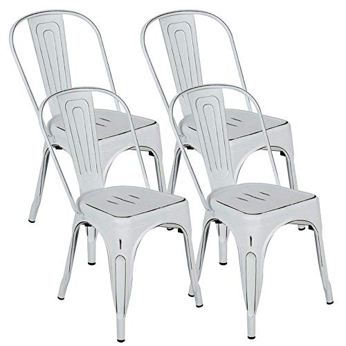 BONZY HOME Metal Dining Chairs Distressed Style, Stackable Side Chairs with Back, Indoor Outdoor Use Chair for Farmhouse, Patio, Restaurant, Kitchen, Set of 4(Distressed White)