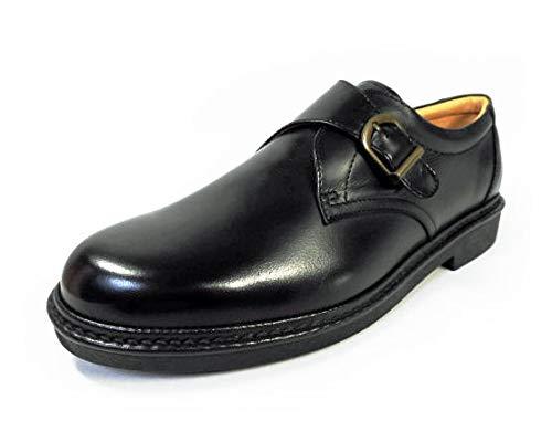 [リナシャンテバレンチノ] 本革 モンクストラップ ビジネスシューズ ワイズ4E 黒 27.5cm、28cm(28.0cm) 29cm(29.0cm) 30cm(30.0cm)【大きいサイズ(ビッグサイズ) メンズ 革靴 紳士靴】 (30.0cm)