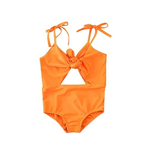 xkwyshop Toddler Girl Swimwear Off Shoulder Swimwear Backless Bathing Suit Baby Girl One Piece Swimsuit (Orange, 2-3Y)