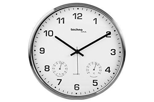 Technoline WT 7980 - Reloj de Pared de Cuarzo, Color Titanio