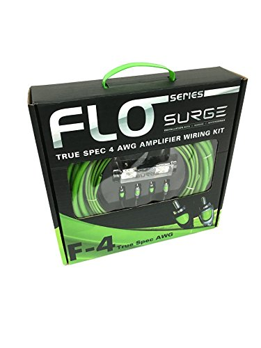 Surge F-8 Flo Series 8 Gauge 800W AWG Amplifier Installation Wiring Amp Install Kit, Envy Green
