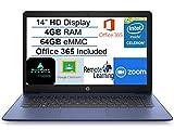 Newest HP Stream 14' HD SVA Laptop Computer, Intel Celeron N4000 Processor, 4GB RAM, 64GB eMMC Flash Memory, 1-Year Office 365, HDMI, Bluetooth, Windows 10, Blue, AllyFlex MP, Online Class Ready