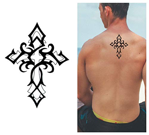 Tribal Cross Temporary Tattoo (3-Pack) | Skin Safe | MADE IN THE USA| Removable