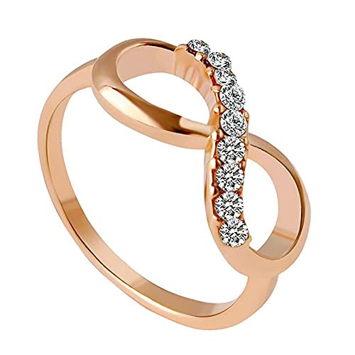 Luobo, elegante anello da donna placcato oro rosa, gioielli da sposa con zircone infinito, anelli di cristallo