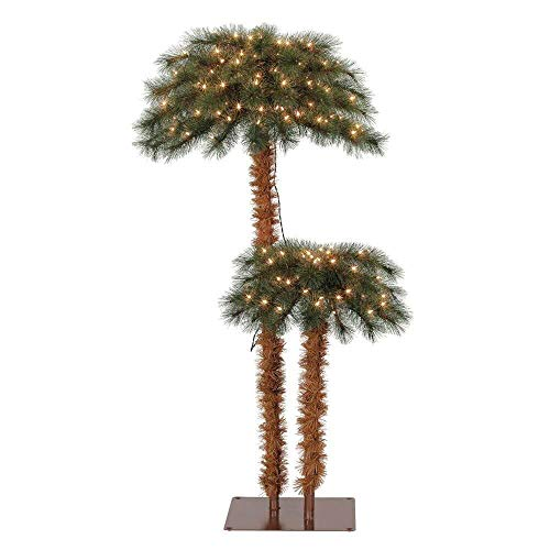 Island Breeze Pre Lit Artificial Tropical Palm Tree with White Lights