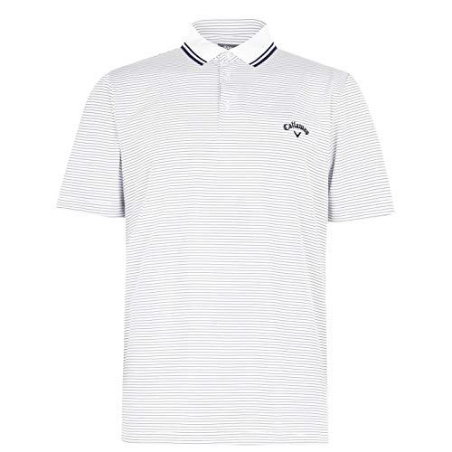 Callaway Herren Microstripe Funktions Polo Shirt Kurzarm Weiß M