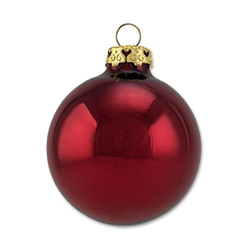 Thüringer Glas Design A012-0808-1920 12 teilig Glas-Sortiment, je 6 Kugeln 8 cm uni und deko, Dekor Glocke, burgund glanz / matt