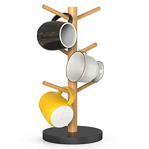Bamboo Mug Rack Coffee Mug Tree Coffee Cup Holder Coffee Bar Accessories with 6 Hooks