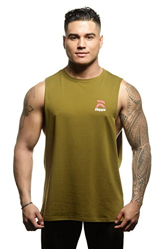 Repps Cut Off Gym Shirts for Men with Drop Cut Sides Sleeveless Shirts Green